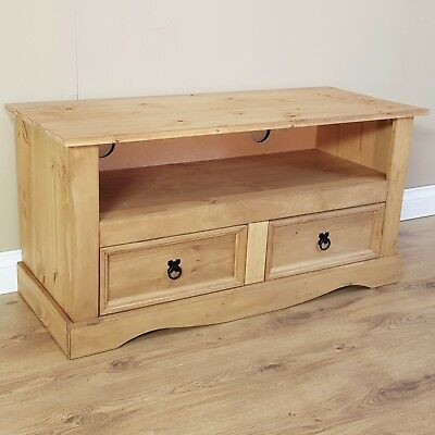 Wooden TV Stand Unit Cabinet Corona FlatScreen Mexican Pine by Mercers Furniture