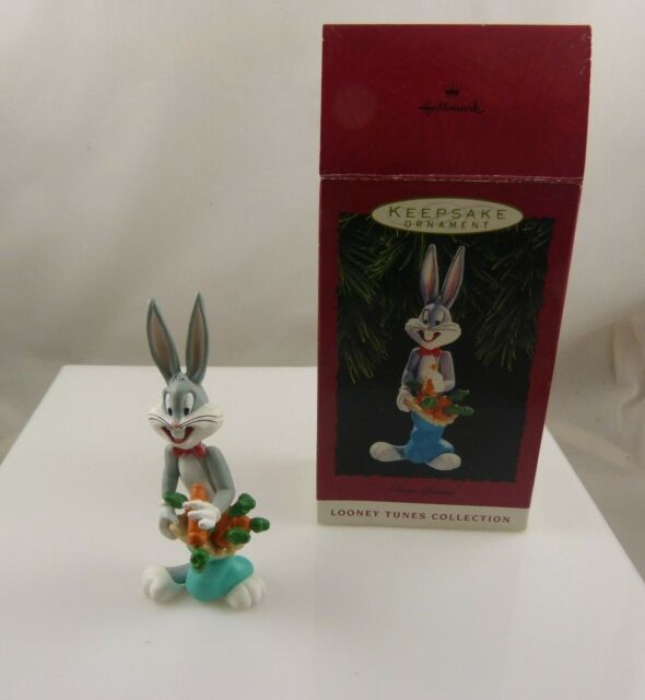 vintage Bugs Bunny plastic  holiday Christmas ornament 1993 hallmark