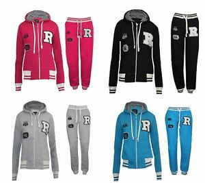 Womens-Tracksuit-Ladies-Gym-Casual-Girls-Sports-Wear-Pants-Trouser-Zipped-Hoodie