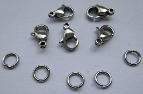20 Karabinerverschluss Verschluss 11 mm Edelstahl mit 40 Ringe Verschlüsse