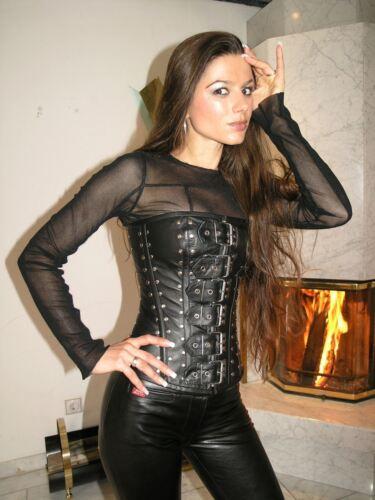 ECHTES LEDER Corsage Korsett Gothic schwarz L Real Leather Ledercorsage 1216