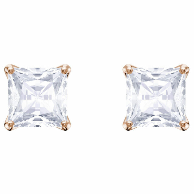 fa275ef80 5431895 Swarovski Crystal Attract Stud Princess Earrings White Rose Gold  Plated