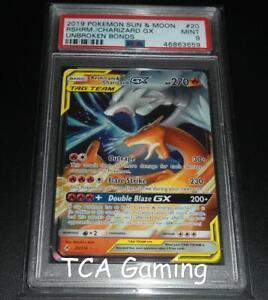PSA 9 MINT Reshiram & Charizard GX 20/214 SM Unbroken Bonds HOLO Pokemon Card