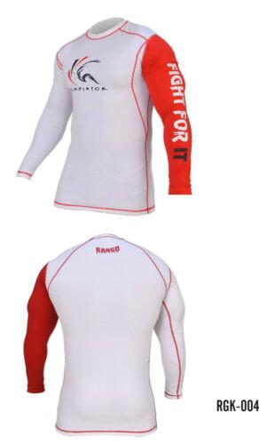 Kango MMA Mens Long Sleeve Compression Top Jiu Jitsu BJJ Wrestling White Red
