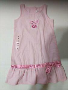 University-Georgia-UGA-Sz-4-Dress-PINK-Satin-Ribbon-Sara-Lynn-Togs-NWT