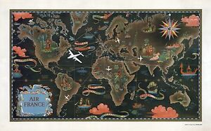 1947 pictorial early Air France map made beginning airline routes ...