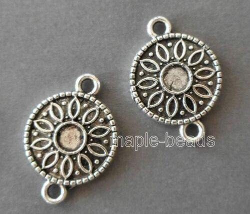 5pcs-2 loop round connector-Antique  silver tone earring connector