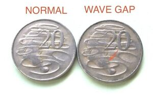 1966-Australian-20-Cent-034-Wave-Gap-034-Error-Coin-Variety-Scarce-2-Coin-Set