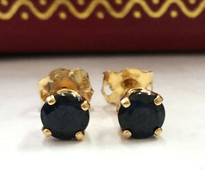 .60CTW Natural Blue Sapphire in 14K Solid Yellow Gold Stud Earrings