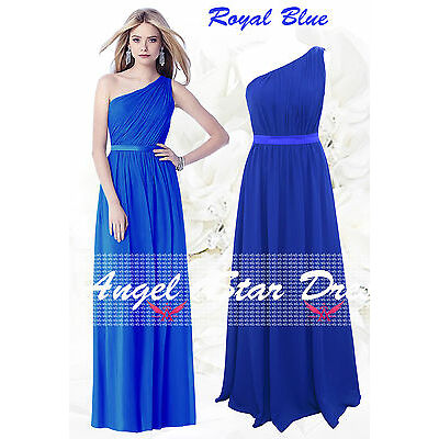 New Design SDJ One Shoulder Ruched Long Chiffon bridesmaid Evening party Dress