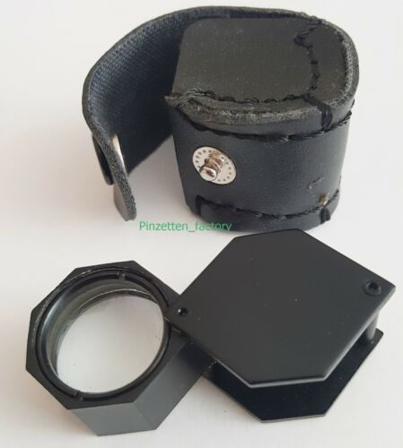 Einschlaglupe 10x Vergroesserung TRIPLET Klapplupe Taschenlupe 736 Schwarz
