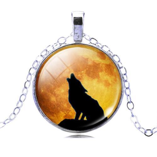Colgante Collar Cadena Lobo Reino Unido Cristal Joyas De Plata Idea de Regalo aullidos Hombre Lobo