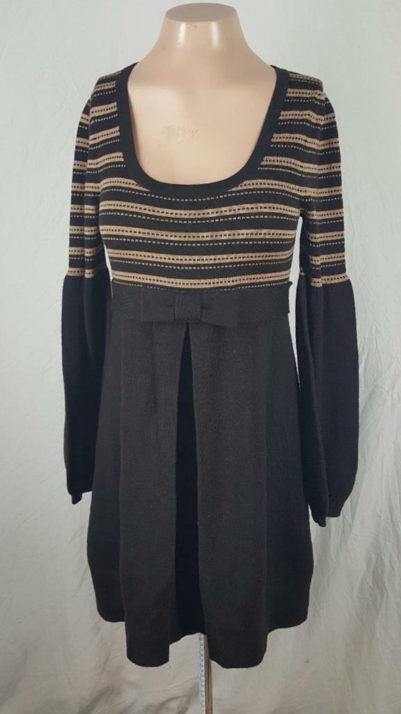 Nanette Leprore Size S Sweater Dress Brown Bow Front Long Sleeves
