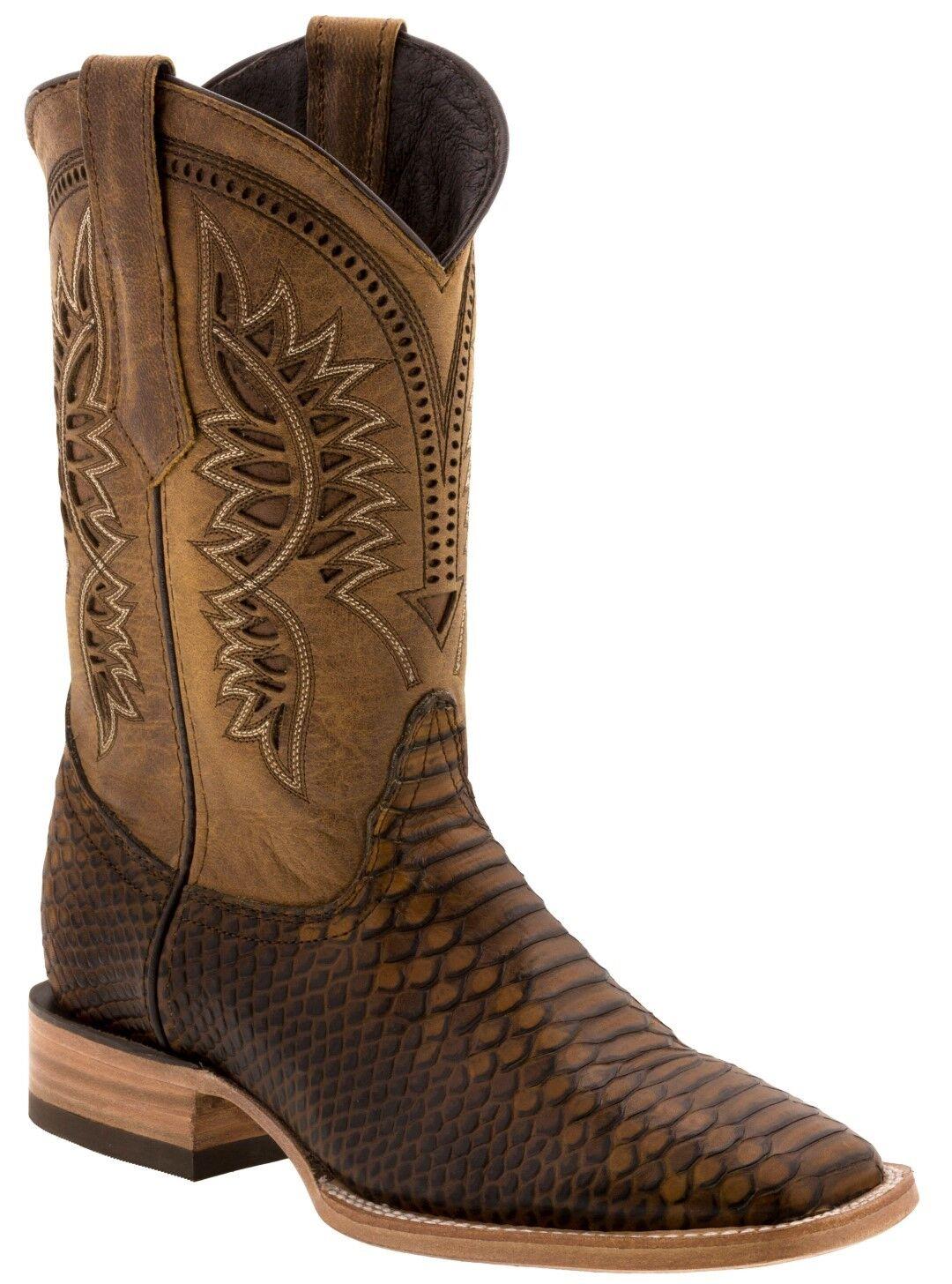 Para hombres cuero patrón de miel Python Serpiente Puntera Cuadrada Vestido Informal botas De Vaquero