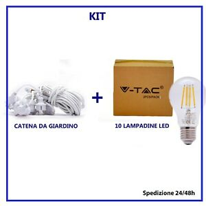 10 lampadine led vtac 4w e27 a filamento luce calda 2700k luci per esterno