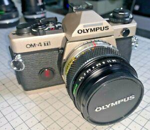 Olympus-OM-4Ti-35mm-SLR-in-Champagne-with-Zuiko-50mm-f1-4-Lens-amp-case-pristine