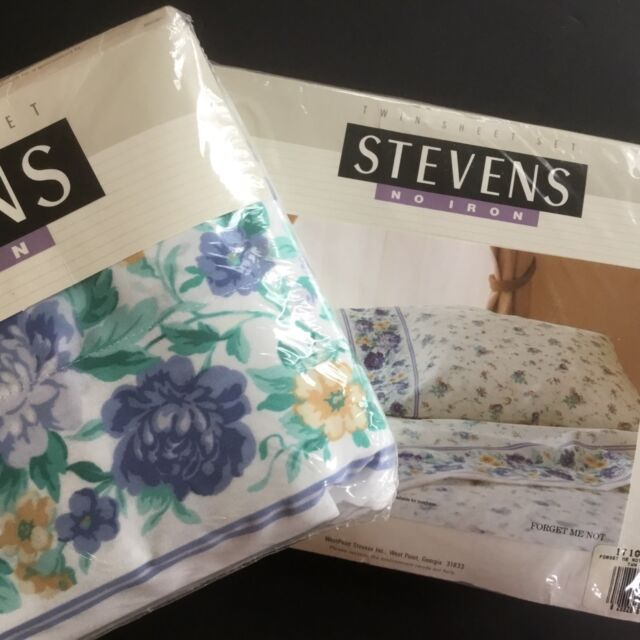 Vtg Sheets Twin Set Westpoint Stevens 3pc Poly Cotton No Iron Blue Usa Nos