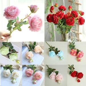 3-Heads-Fake-Rose-Artificial-Silk-Peony-Flower-Bridal-Wedding-Bouquet-Home-Decor