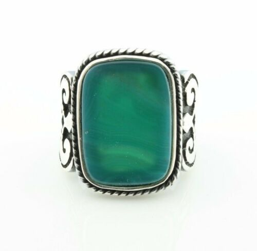 Aqeeq Men/'s Ring US Seller 925k Solid Sterling Silver Green Agate P3B
