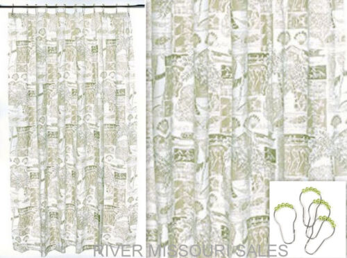 "Beach Shower Curtain W//Modern Twist Shells 70/"" x 72/"" With Hooks-NEW Palm Trees"