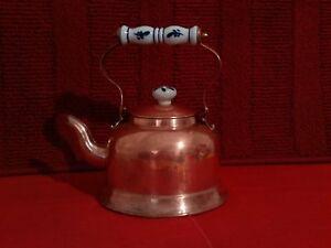 Antique vintage copper tea kettle Large tea pot Porcelain handle /& knob
