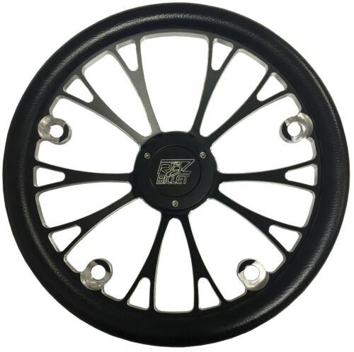 RBZ Billet V-Shape Black 20 Spoke Drag Racing Steering Wheel 4 Button Holes
