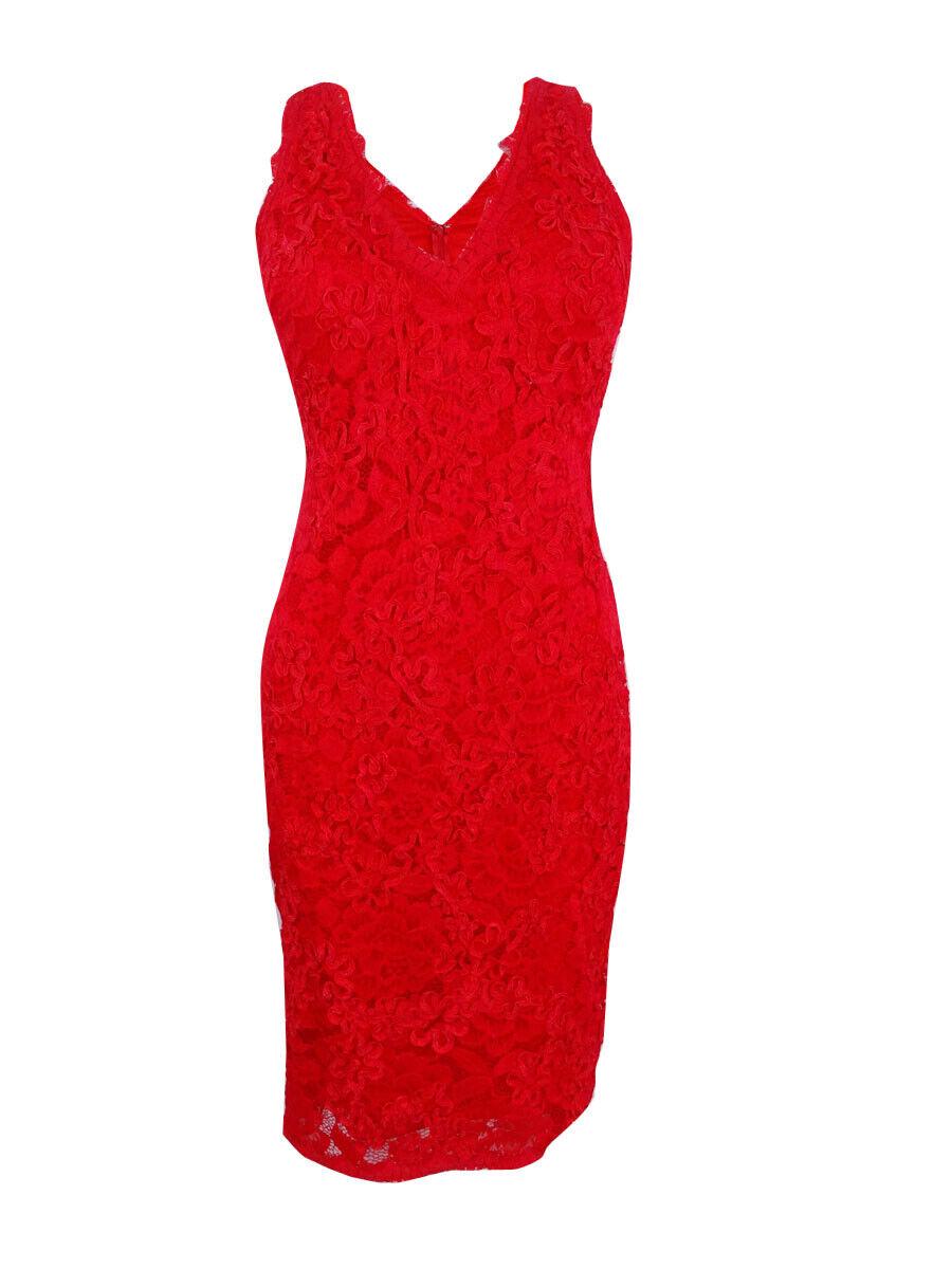 Betsy & Adam Woherren Sleeveless Embroiderot  V-Neck Lace Dress