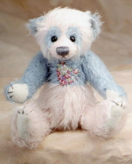 DEB CANHAM   WISHI WASHI  großGER BEARS Sammlung  7 1 2  Blau Weiß MOHAIR BEAR
