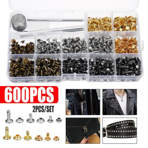 600PCS Leather Craft Double Cap Rivets Tubular Metal Studs Fixing Tools DIY Kit