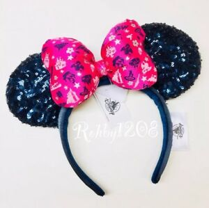 disney-parks-navy-blue-sequins-pink-2019-attraction-icons-minnie-ears-headband by disney-parks