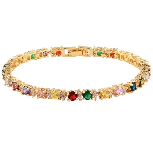 Les Femmes vente chaude Strass Round Cut 18K Multi-Color Tennis Fashion Bracelet
