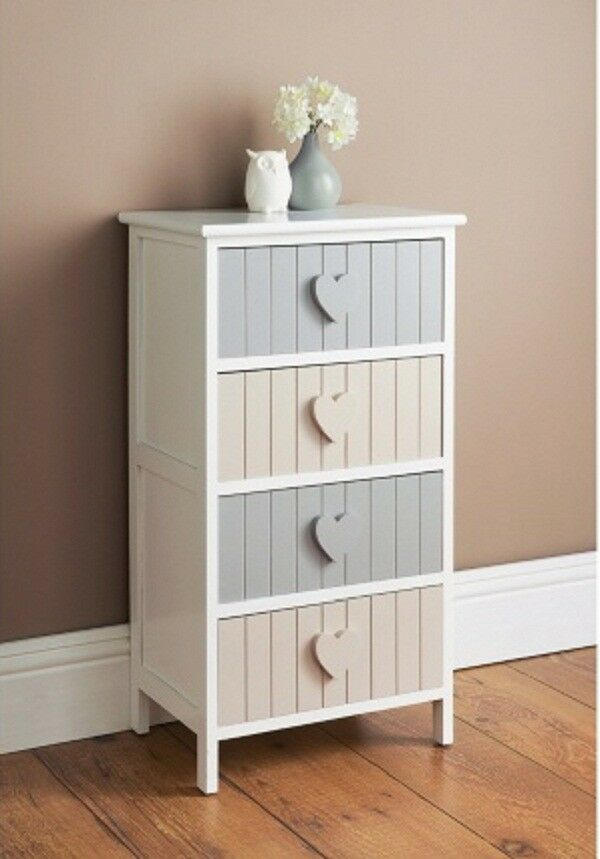 new product 8f1e6 52478 New Karina 4/6 Drawer Chest Wooden cabinet with distinctive heart shape  handles