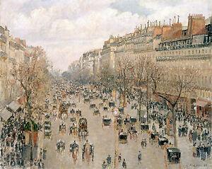 Camille-Pissarro-1897-antique-PARIS-Boulevard-Montmartre-20-034-x16-034-ART