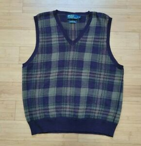 Vintage-Polo-Ralph-Lauren-Rugby-Pullover-Weste-Polo-RRL-Bear-Seide-Golf-Shirt-XXL