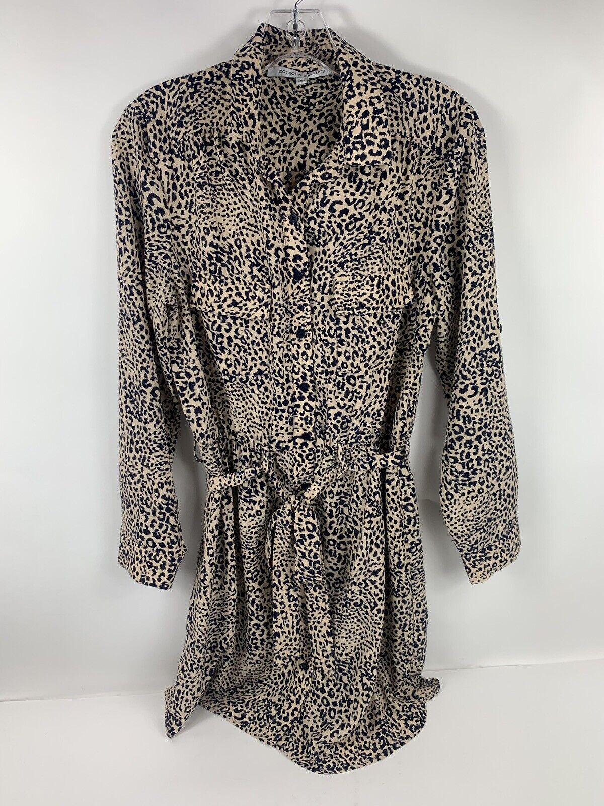 Collective Concepts 3 4 Sleeve Dress Leopard Print Shirt Button Down Medium bluee