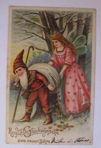 034-New-Year-Dwarves-Elf-Bag-Coins-034-1909-Embossed-Postcard-38847