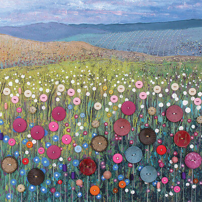 Button Meadow Square Blank Greeting Card by Artist Jo Grundy New Range Art Cards