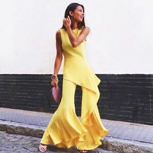 ZARA-YELLOW-ASYMMETRIC-FLARE-TROUSERS-FRILL-TOP-BELL-BOTTOM-PANTS-SET-WEDDING-M