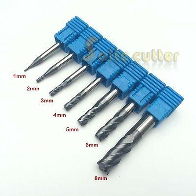 2pcs 4 Flute 4F HRC55 Steel 8*8*20*60mm End Mill CNC Router Bit Milling Cutter