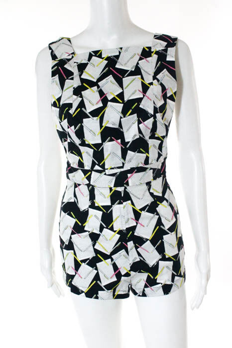 Olympia Le-Tan Multi-color Abstract Sleeveless Romper Size 38  New 115155