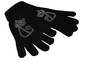 CAT-DESIGN-BLACK-DIAMANTE-ENCRUSTED-GLOVES-WOOL-ACRYLIC-MIX-ONE-SIZE