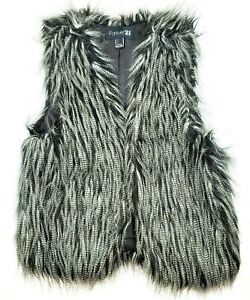 Womens-Forever-21-Faux-Fur-Vest-Small-Black-amp-White-Soft-Lined-Punk-Rock-Fashion