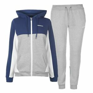 f20c53d384 Details about Donnay Womens Sweatsuit Tracksuit Hooded Zip Full Drawstring  Elasticated Waist