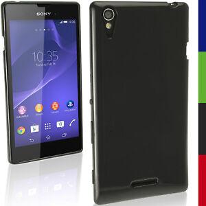new concept 38b0a 60b79 Details about Nero Solido Gel TPU Custodia per Sony Xperia T3 D5102 Case  Cover Skin Pellicola