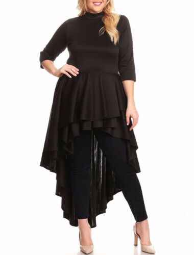 Plus Black Layered Hi Lo Cascade Ruffle Peplum Dress Tunic Top Blouse