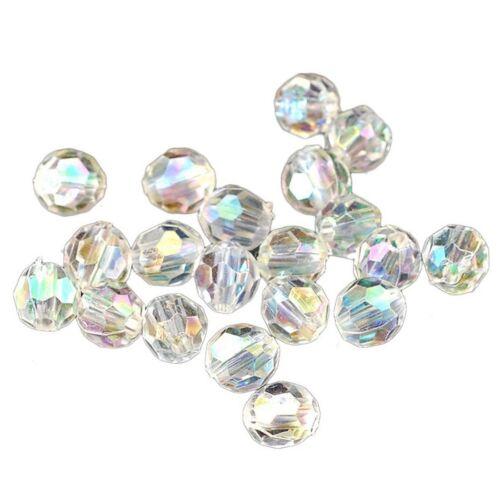 500x Transparent Aérographe Couleur Rond Facette Acrylique Crystal Spacer Beads 6x6mm V6G1