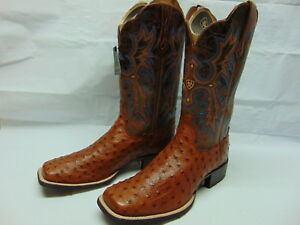 d57b50ee8c3 Details about NEW LADIES 10 ARIAT 10016708 BRANDY TOMBSTONE FULL QUILL  OSTRICH LEATHER BOOTS
