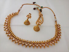 DISHI South Indian Fashion Necklace Ethnic Traditional Gold Plated Jewelry  Set