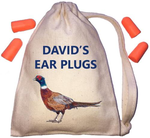 Personalised Pheasant TINY Ear Plugs Storage Bag /& 4 Ear Plugs DIY Shooting