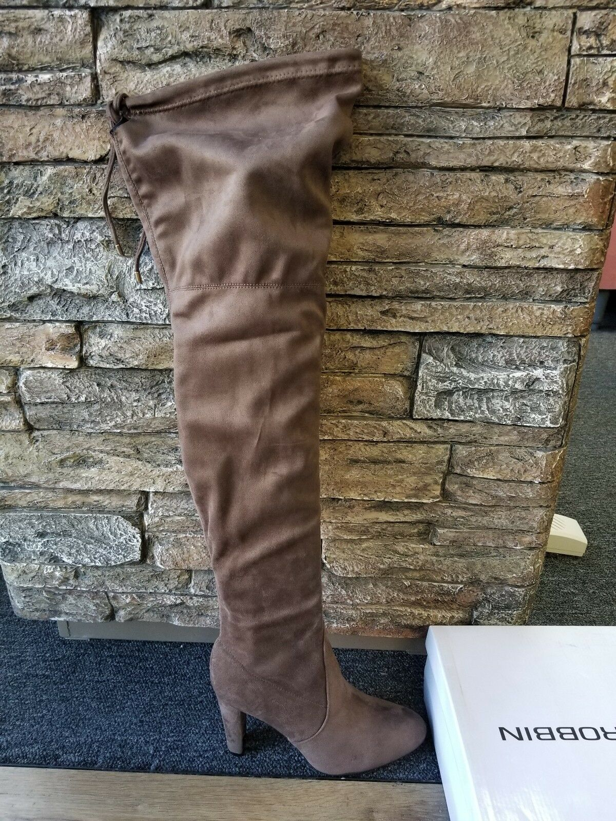 Cape Robbin Taupe Thigh High Boots Kylie-1 Size 9 Suede Feel Khaki High Heel